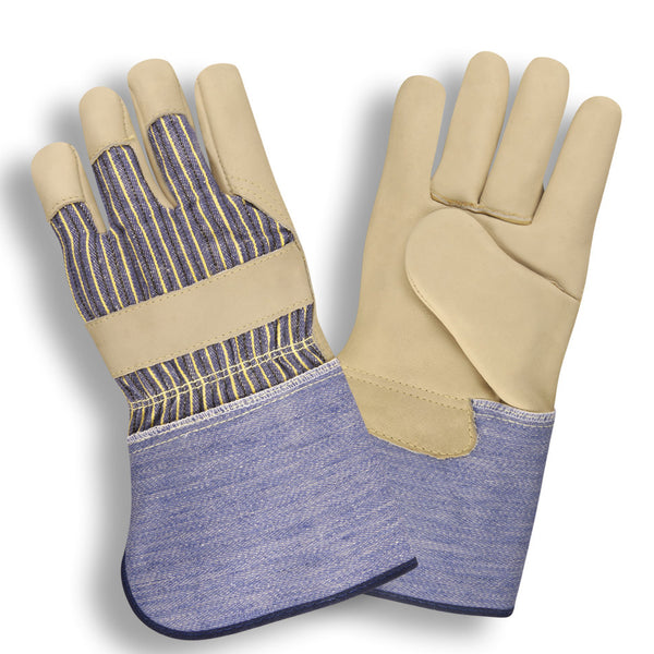 Premium Leather Palm Striped Canvas Gloves, Gauntlet - 12 Pairs