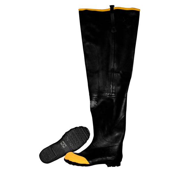 Cotton Lined Rubber Hip Boots, Steel Toe