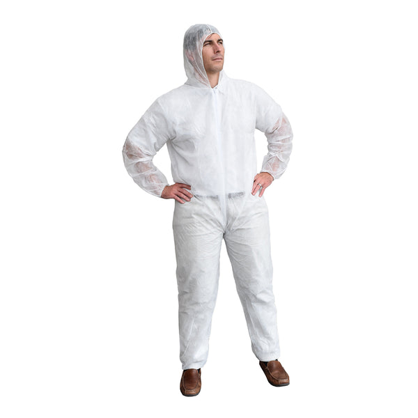 Polypropylene Protective Hooded Coveralls - Case of 25