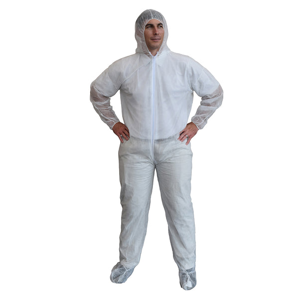 Polypropylene Protective Hooded Coveralls With Boots - Case of 25