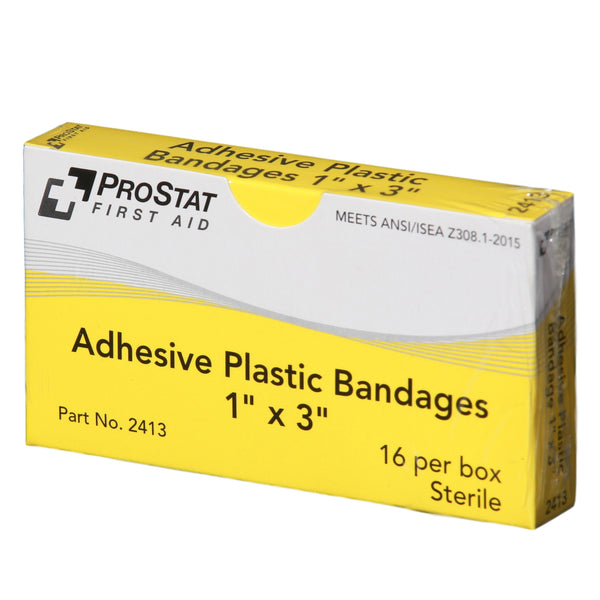 "Adhesive Plastic 1"" x 3"" Bandages - 16 Count"