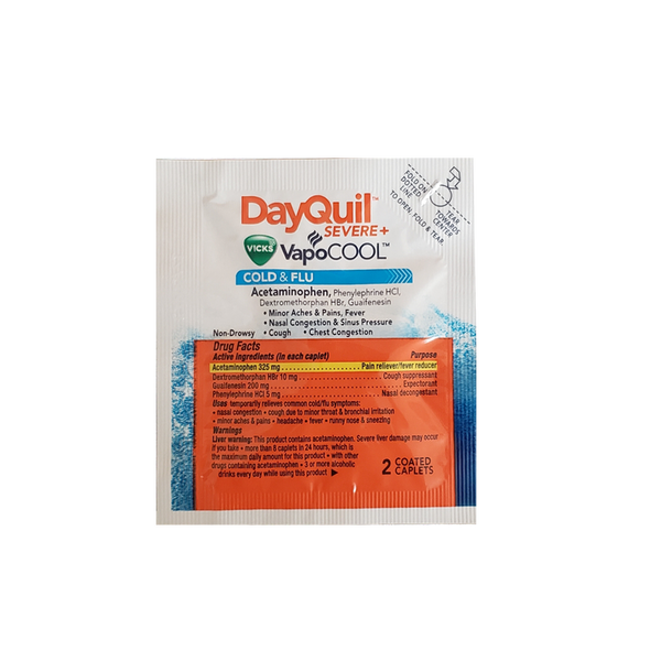 DayQuil Severe Vicks VapoCOOL Cold & Flu - 4 Single Dose Packets (2 caplets per packet)