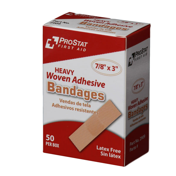"Heavy Woven 7/8"" x 3"" Adhesive Bandages - 50 Count"