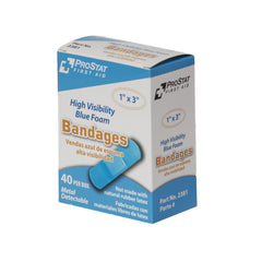 "High Visibility Blue Foam Adhesive 1"" x 3"" Bandages - 40 Count"