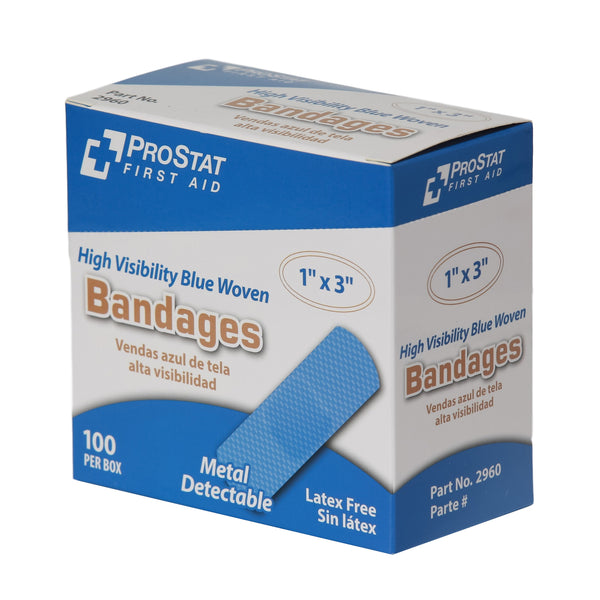 "High Visibility Blue Woven Adhesive 1"" x 3"" Bandages - 100 Count"