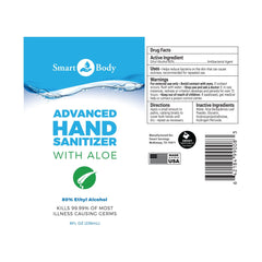 Smart Body Advanced Hand Sanitizer 80% Alcohol with Aloe - 8 oz. ON SALE $1.95!