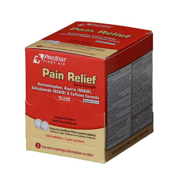 Pain Relief (Compare to Excedrin) 50 Packets of 2 Tablets