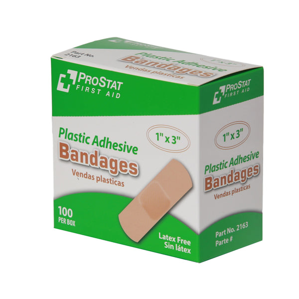 "Plastic Adhesive 1"" x 3"" Bandages - 100 Count"