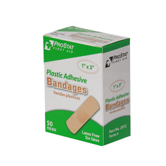 "Plastic Adhesive 1"" x 3"" Bandages - 50 Count"