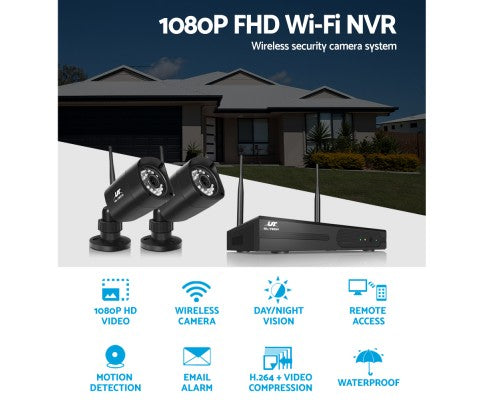 UL-TECH 1080P 4CH NVR Wireless 4 Security Cameras Set - spy online australia - spy products - nanny cam - gps tracker - home security - home security camera - drones - hidden cam - spy cam - hidden camera - spy camera