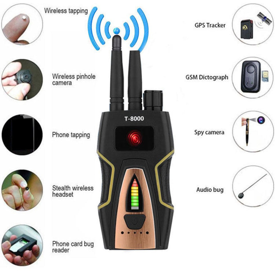 T8000 Anti Spy Anti Hidden Camera Detector RF Bug Detector Wireless Signal Scanner Alarm Security Motion Vibration Sensor LESHP - spy-online-australia