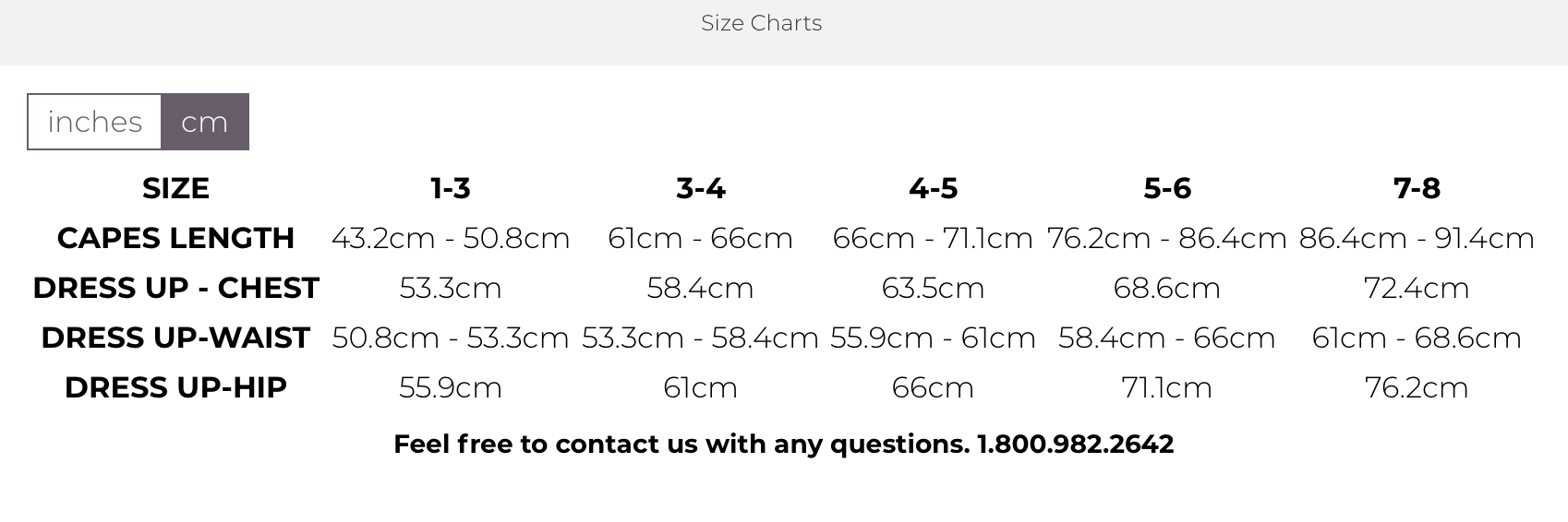 Great Pretenders Sizing Chart