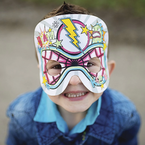 Colour your own super hero mask DIY superhero birthday party pretend play superhero costume