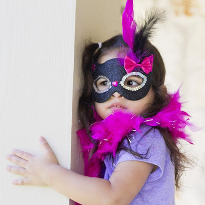 Glitter Black Kitty Mask with Feathers - Great Pretenders
