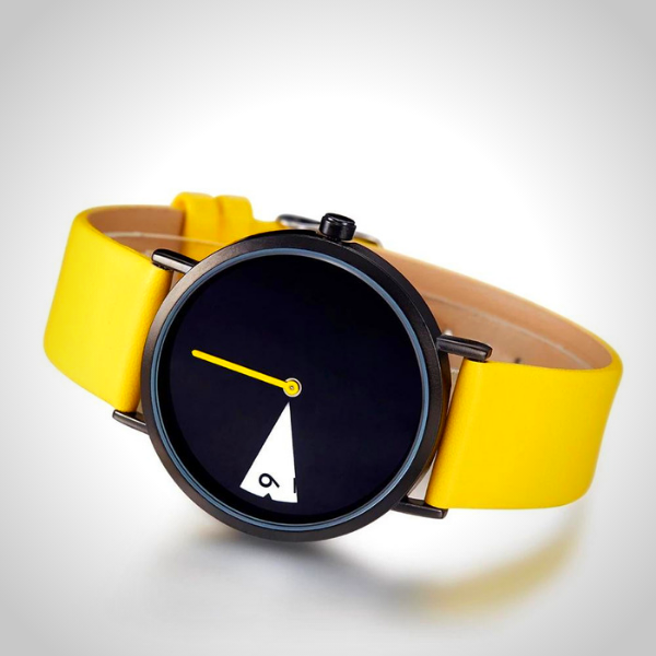 Rotatesse™ - Get Fancy This Summer! Sunny, rotating dial, rotating clock face, unisex watch, minimal creative wristwatch, wristwatch, unisex wristwatch, rotating watch display, rotating watch case, rotating bezel watch, rotating dial watch, yellow funky wristwatch, charming rotating watch for all. Summer 2020 fancy watch.