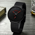 Lust™ - Seductive Intense Desire, minimalist wristwatch, unisex wristwatch, red pointer wristwatch, men's Watch, ultra-thin wrist watches for men, fashion waterproof wristwatch, mesh stainless steel band, black matte display with red pointer hands, mesh black wristwatch, fashion men and women luxury watch, unisex watch