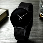 Le Prestige™ - Quality & Admiration, minimalist wristwatch, unisex wristwatch, silver pointer wristwatch, men's Watch, ultra-thin wrist watches for men, fashion waterproof wristwatch, mesh stainless steel band, black matte display with silver pointer hands, mesh black wristwatch, fashion men and women luxury watch,unisex