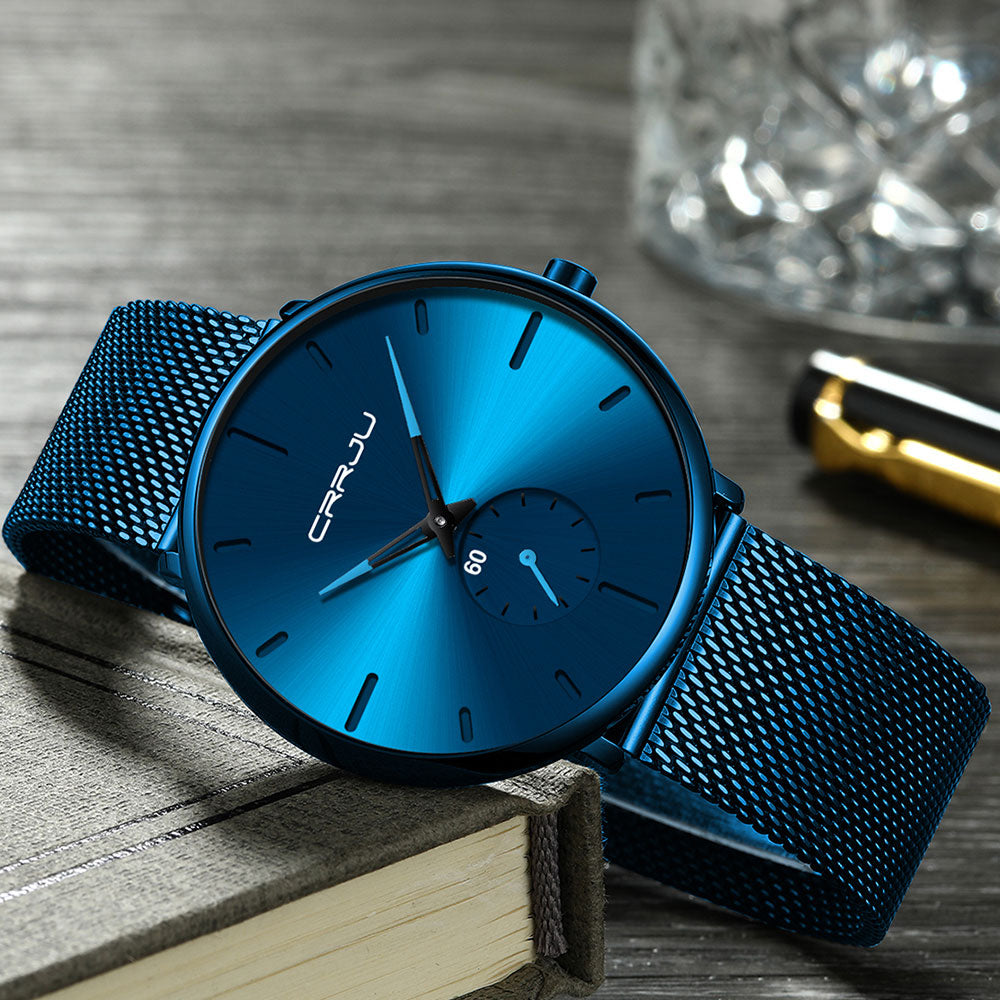 Embluego™ - Light Blue Ocean Waves, Light blue wristwatch, blue ocean waves, unisex wristwatch, mesh watchband, comfortable watch, watches for men, watches for women, watches, unisex watches, unisex, watches for all, watches on offer, watches deals, great watch models for all, watch for me, couple watches, best watch.