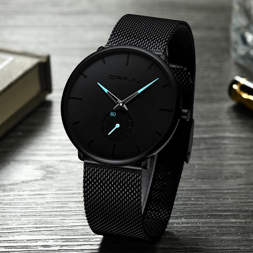 Reveler™ - Astro Blue Mesh Wristwatch, minimalist wristwatch, unisex wristwatch, blue pointer wristwatch, men's Watch, ultra-thin wrist watches for men, fashion waterproof wristwatch, mesh stainless steel band, black matte display with ice blue pointer hands, mesh black wristwatch, fashion men and women luxury watch.