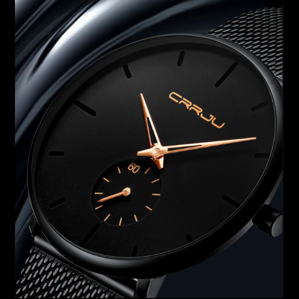 Remployale™ - Empowers Charisma & Fun, minimalist wristwatch, unisex wristwatch, gold pointer wristwatch, men's Watch, ultra-thin wrist watches for men, fashion waterproof wristwatch, mesh stainless steel band, black matte display with gold pointer hands, mesh black wristwatch, fashion men and women luxury watch,unisex