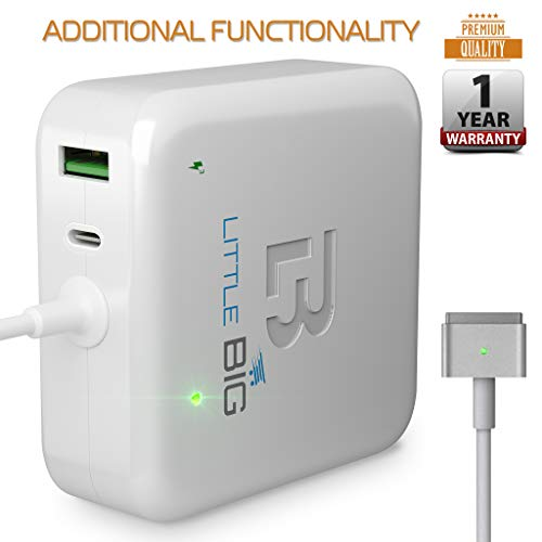 Little Big 45w T-tip Charger - Multifunctional Charger Compatible with MacBook Air 45w Magsafe 2 - White