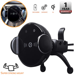 Wireless Car Charger Mount - Air Vent Car Mount, Automatic Clamping, Smart Sensor - 10W Fast Charging Smartphone Dock Station with Quick Release Button