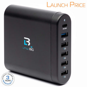 USB Charger 50W 15,6A 6-Port Desktop USB Charging Station with AI Multiple USB, Quick Charge 3.0 Port and 18W PD Charger