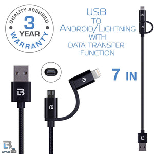 2-in-1 USB CABLE- 7inch Nylon Braid iPhone and Android Fast Charging Cable With Data Sync Transfer Function- Compatible with iPhone 8/8 Plus/X/7/7 Plus/SE/6/6 Plus/6S/6S Plus/5/5C/5S,iPad