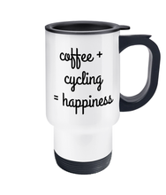 Load image into Gallery viewer, Coffee + Cycling = Happiness Travel Mug - Track and Fit Club