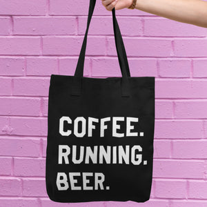 Coffee Running Beer Tote Bag
