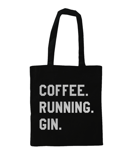 Coffee Running Gin Tote Bag Black - Track and Fit Club