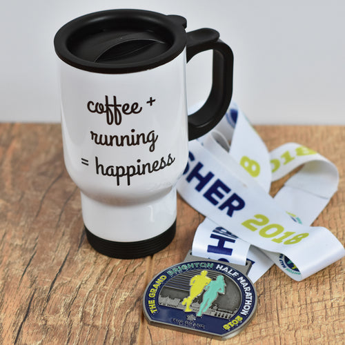 Coffee + Running = Happiness Travel Mug