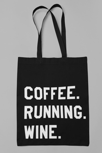 Coffee Running Wine Tote Bag - Track and Fit Club