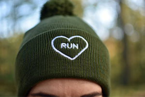 Embroidered Run Heart Pom Pom Hat