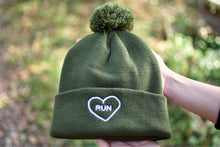 Load image into Gallery viewer, Embroidered Run Heart Pom Pom Hat