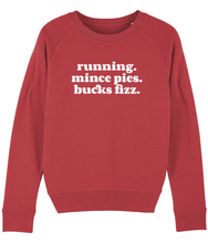 Load image into Gallery viewer, Running Mince pies Bucks Fizz Sweater - Track and Fit Club