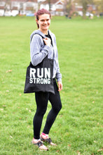 Load image into Gallery viewer, Run Strong Tote Bag Black - Track and Fit Club