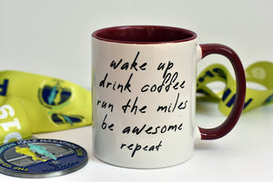 Wake Up Be Awesome Running Mug - Track and Fit Club
