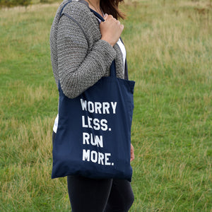 Worry Less Run More Tote Bag Navy - Track and Fit Club