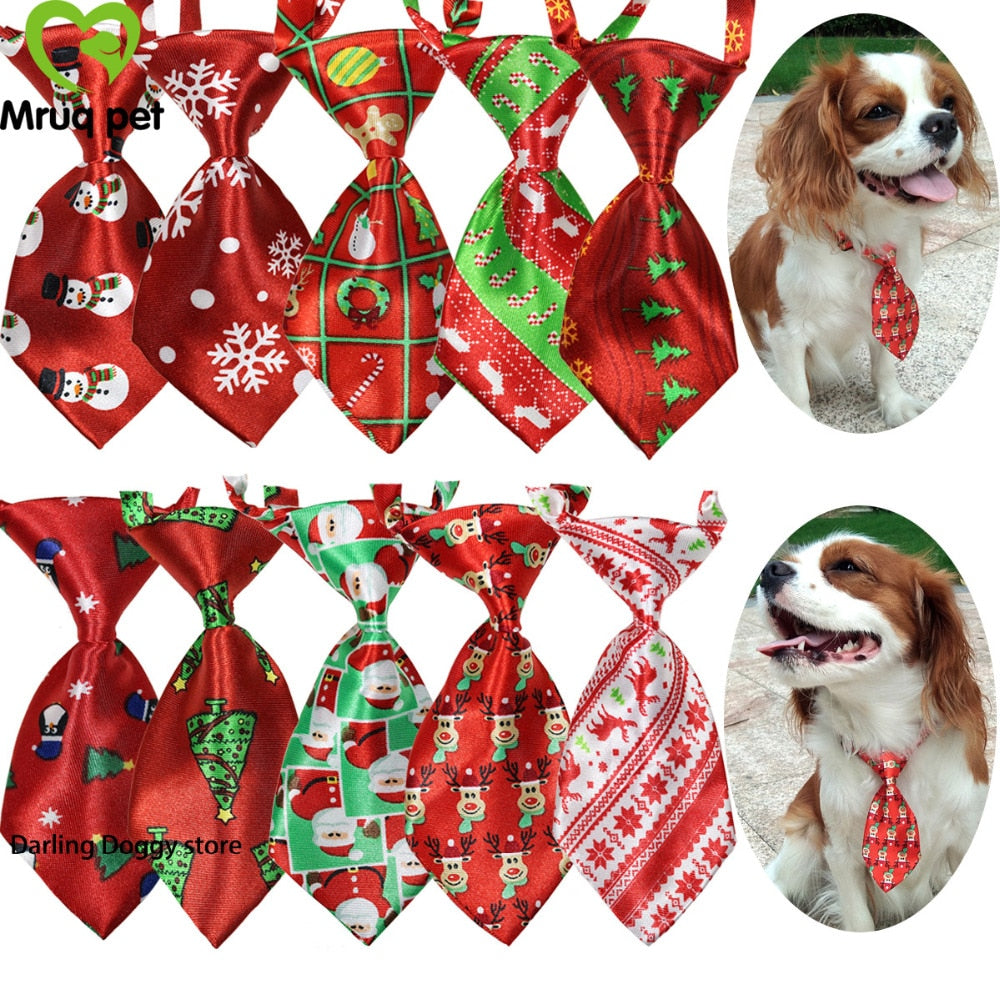 10pcs/Pack Christmas Pet Dog Cat Neck Ties adjustable