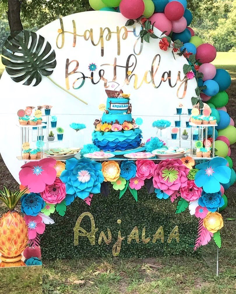 Happy birthday acrylic backdrop ghost table jungle