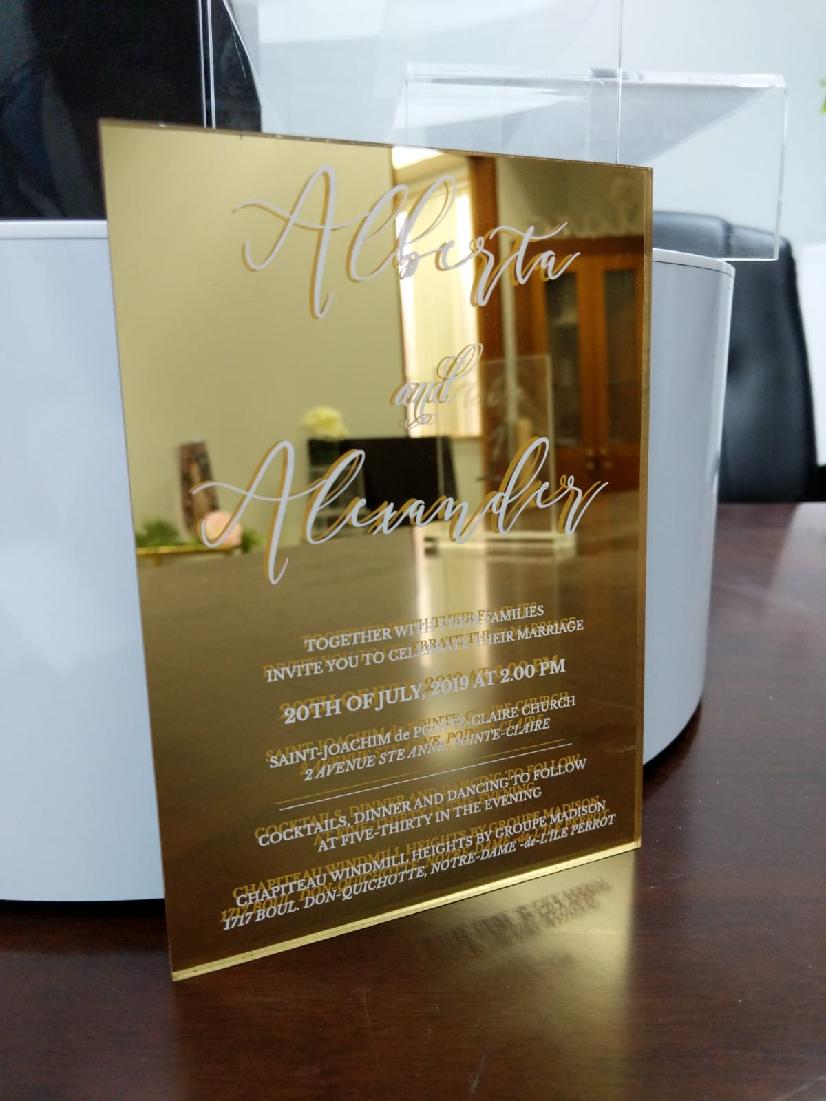 Acrylic gold chrome wedding Invitation