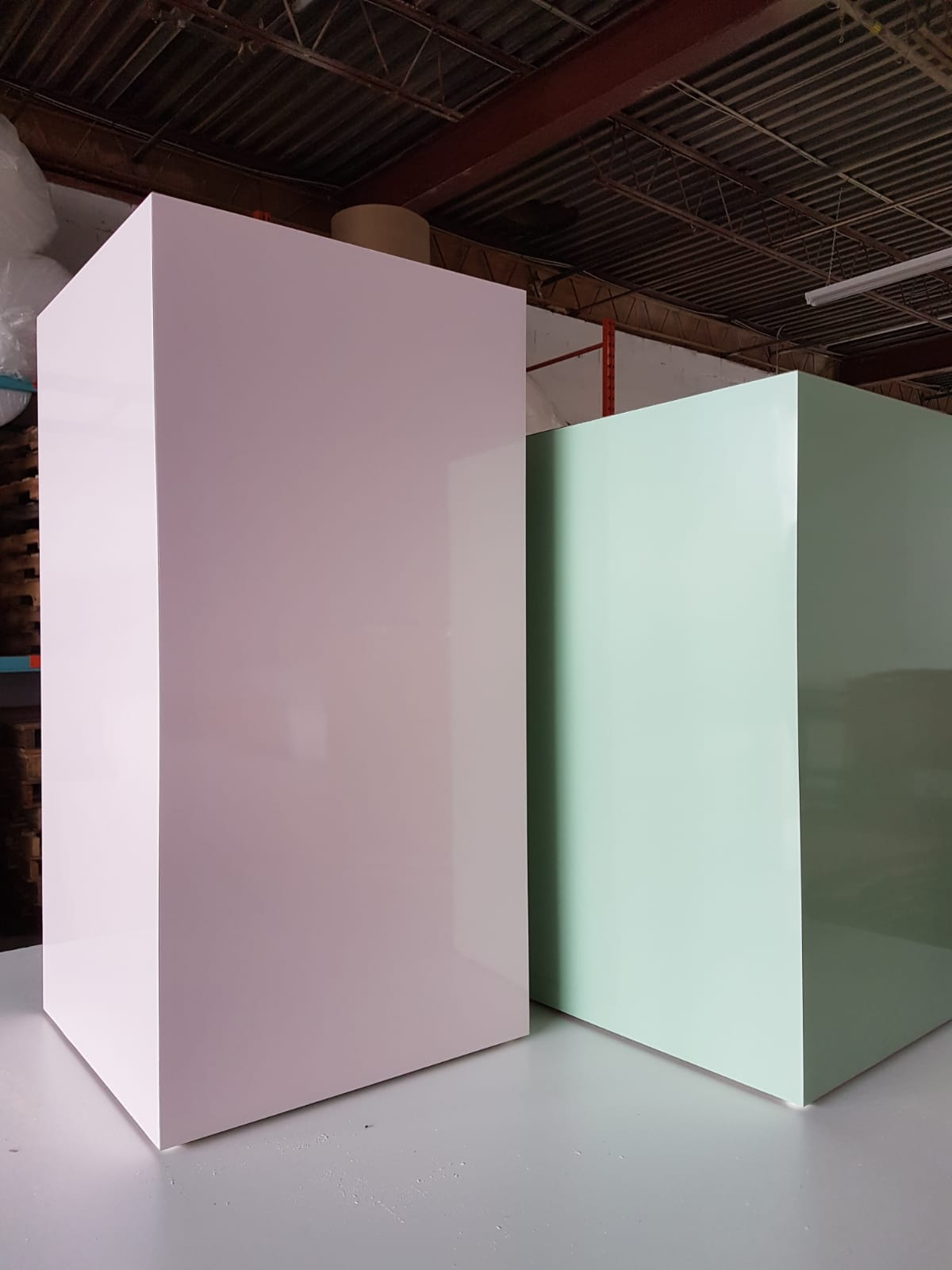 Custom pink and green plinths