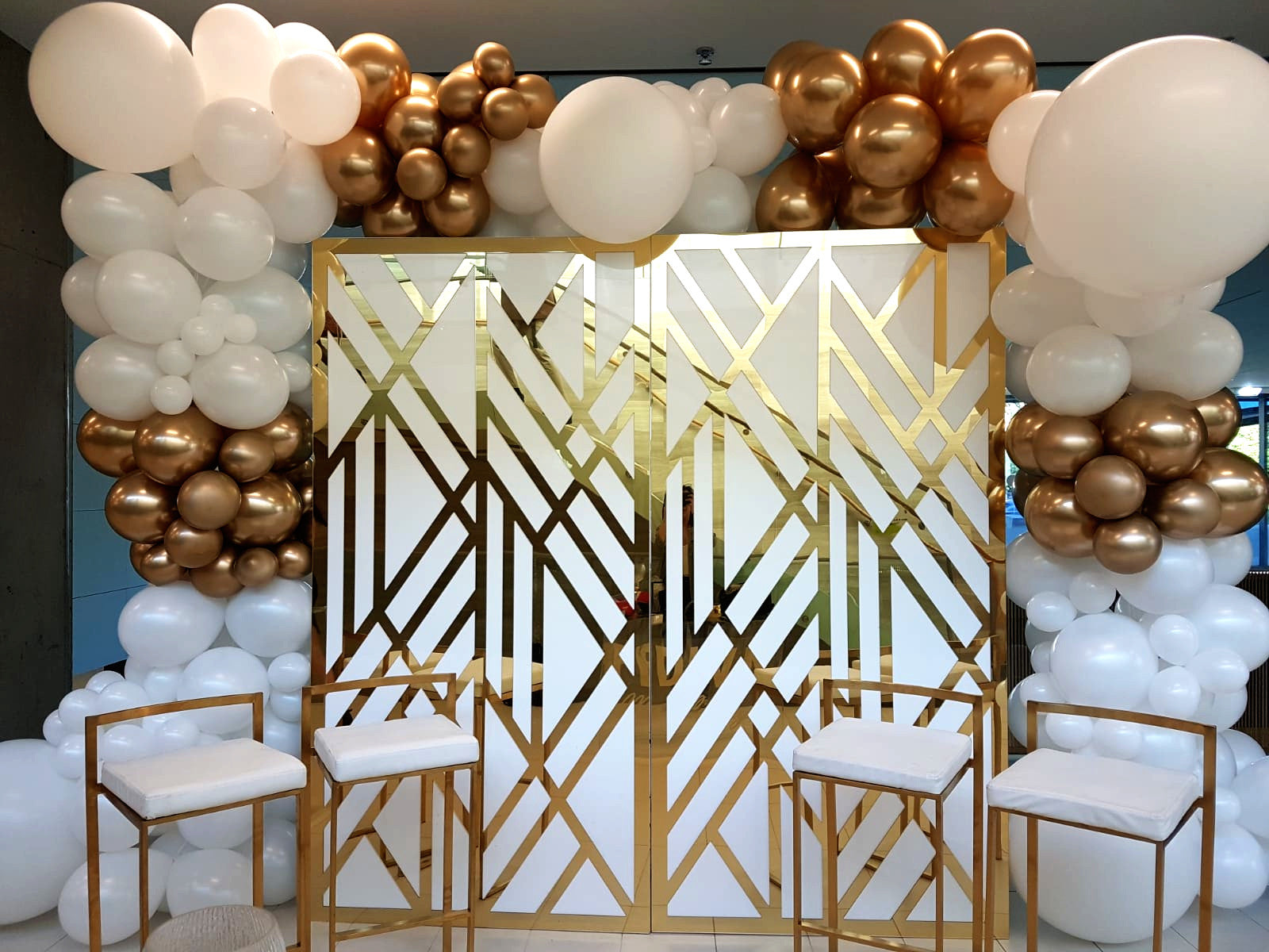 Chrome Gold and white geometric acrylic backdrop