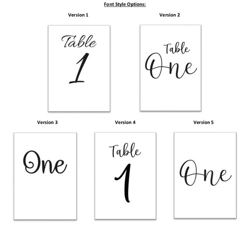 Vinyl Print - Table Numbers