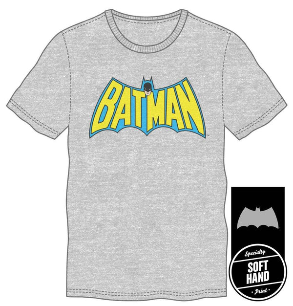 DC Comics Batman Bat Shaped Batman Gray Men's Specialty Hand Print Tee Shirt T-Shirt