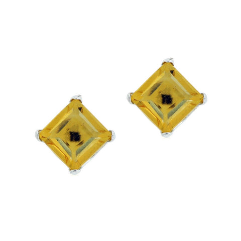 Image of Square Shape Gemstone Stud Earrings in 10K Gold