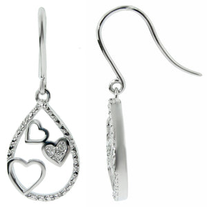Fish Hook Earrings with Diamond Accent in Silver