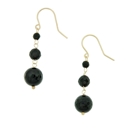 Natural Black Onyx Drop Earrings in 10K Gold