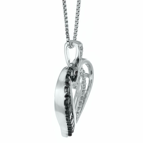 Hammered Shape Pendant with Diamond Accent in Silver